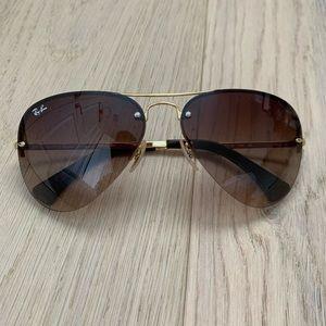 Ray-Ban Pilot Brown Gold Gradient Lens Sunglasses